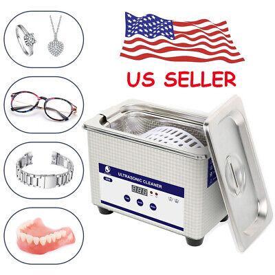 Ultrasonic Jewelry Cleaner Digital Timer For Eyeglasses Dental Bullet Basket