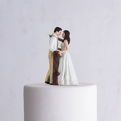 Rustic Couple Porcelain Figurine Wedding Cake Topper White Dress Customization (Wedding Cake Toppers Rustic)
