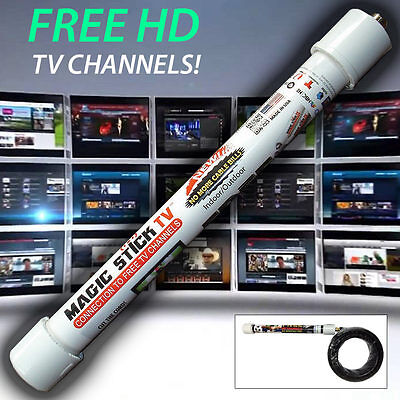 MAGIC STICK TV PVC Antenna HDTV Free HD Camp/Hunt/RV/Tailgate/Indoors 20FT Cable
