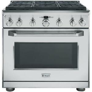 Monogram ZGP366NRSS Gas Range, 36 Self Clean, Convection, 6 Burners, Sealed Burners 6.2 cubic ft, Free Standing