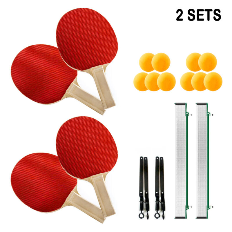 Complete Table Tennis Set 4 Ping Pong Paddles 10 Balls 2 Nets 4 Players Portable