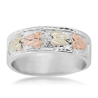 Black Hills Gold wedding band ring mens .925 sterling silver Black Hills Wedding Bands