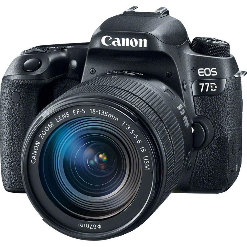 Canon EOS 77D DSLR Camera with EF-S 18-135mm IS USM Lens Black 1892C002
