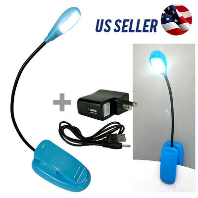 New Blue Flexible Arm Book Reading Clip On Led Lamp Light Pc Tablet Laptop