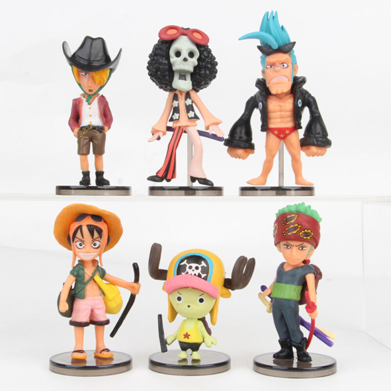 One Piece Chopper Zoro Luffy Brook 6 PCS Action Figure Cake Topper Gift Doll Toy