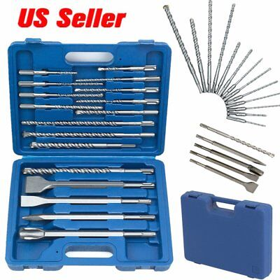 17 PC DRILL BITS & CHISEL SDS PLUS BIT FOR FIT BOSCH HILTI ROTARY HAMMER DRILL H