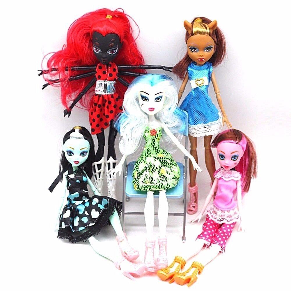 Monster High - 5pcs/lot Monster High Dolls Kids Toy Moveable Joint Children Girl Xmas Gift