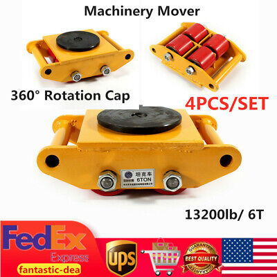 4pcs Machinery Mover Set Machine Dolly Skate 4 Rollers 6t With 360 Rotate Cap