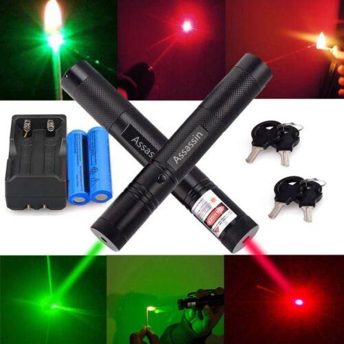 Assassin 2Color Red+Green Laser Pointer 30Miles Astronomy Lazer Light+Batt+Char