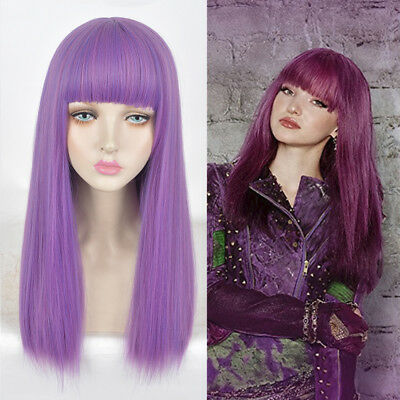 - KID'S CHILD SMALL SIZE Long purple hair full wigs Descendants 2 Mal cosplay wig