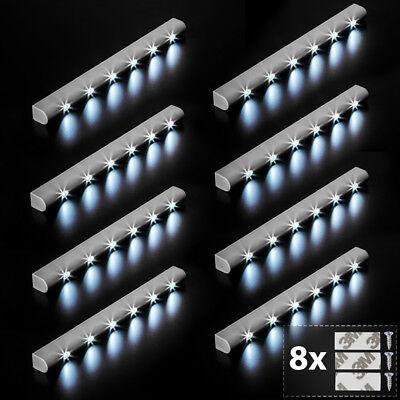 8x Barra luminosa a 6 LED con sensore di movimento per armadi luce lampada nuovo