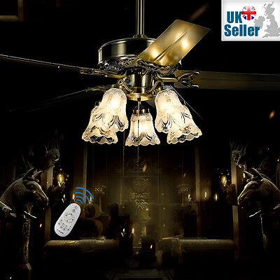 "48"" Ceiling Fan Light Bronze 5 Glass Light + 5 Metal Blade + Remote Ctrl 3 Speed"