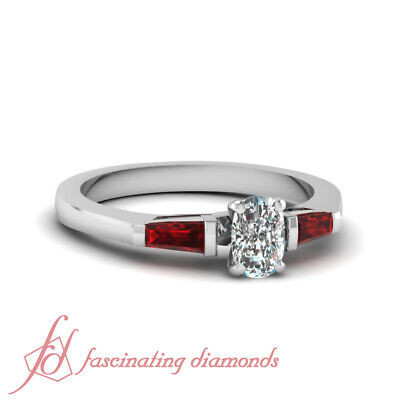 .65 Ct Cushion Cut Diamond & Red Ruby Engagement Ring Bar Set VS1-H Color GIA