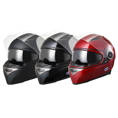 Safety DOT Motorcycle Full Face Helmet Dual Visor Sun Shield Racing Sports -
