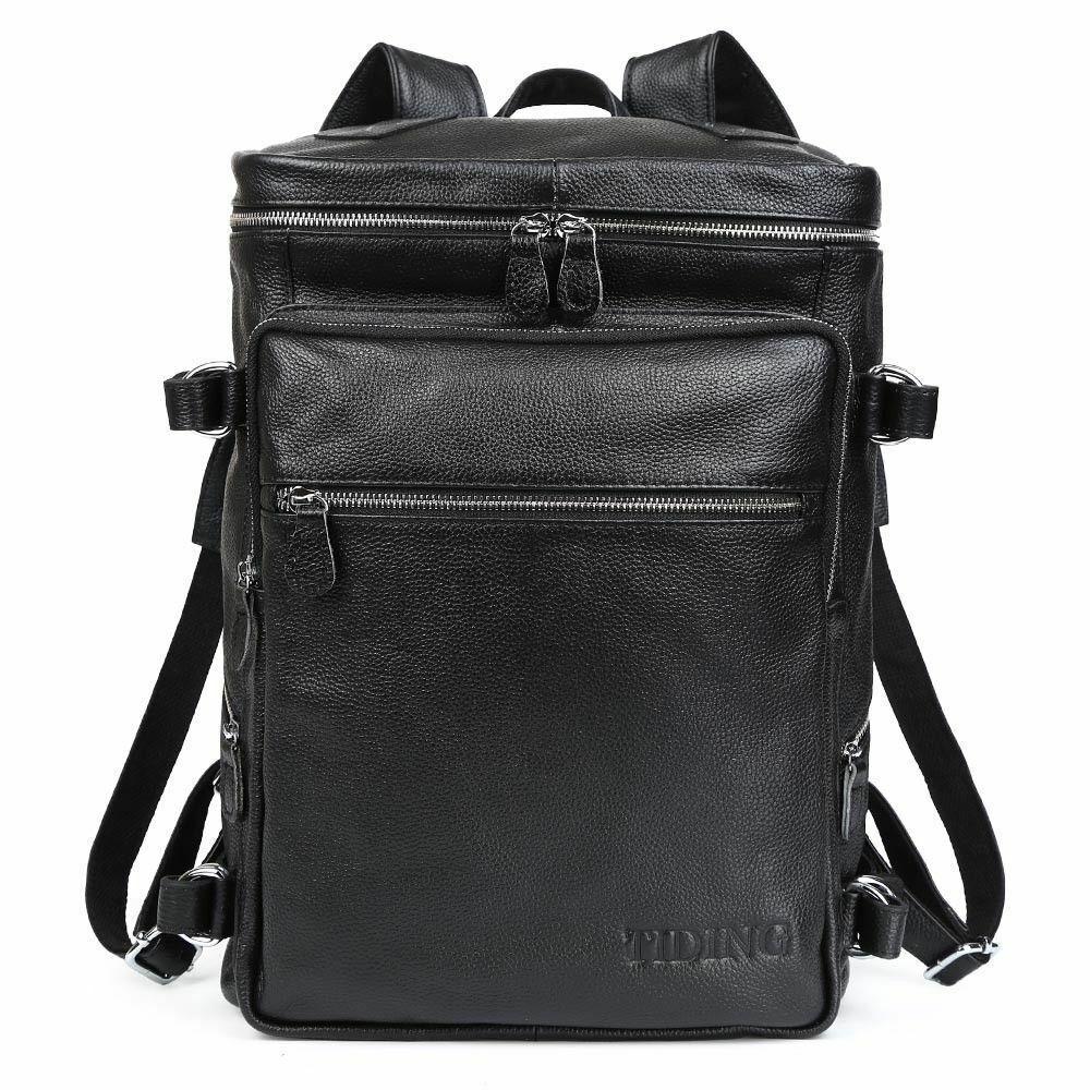 "Real Leather Backpack Men Travel 16"" Laptop Satchel Office D"