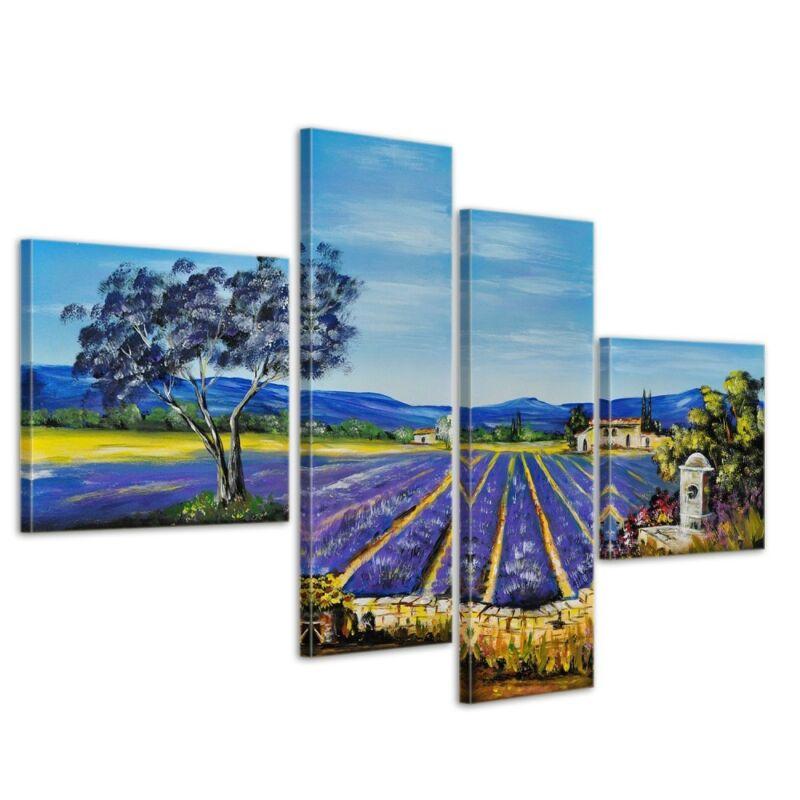 Lavendelfeld+M1+-+Leinwandbild+4+teilig+100x70cm+Handgemalt