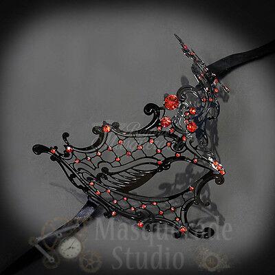 Womens Black Metal Phantom Laser-Cut Masquerade Prom Mask [Red Rhinestones]