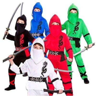 Jungen Power Ninja Japanischer Samurai Krieger Kinder Kinderkostüm Outfit 4-13Y