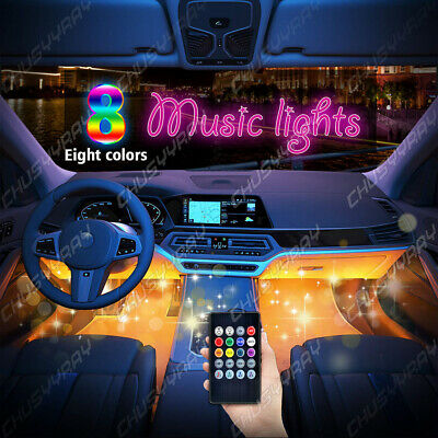 4PCS Car RGB 36 USB LED Lights Strip Interior Neon Atmosphere Lamp With Control