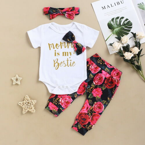 Newborn Baby Girl Floral Outfits 3PCS Set Romper Jumpsuit Pants Headband Clothes