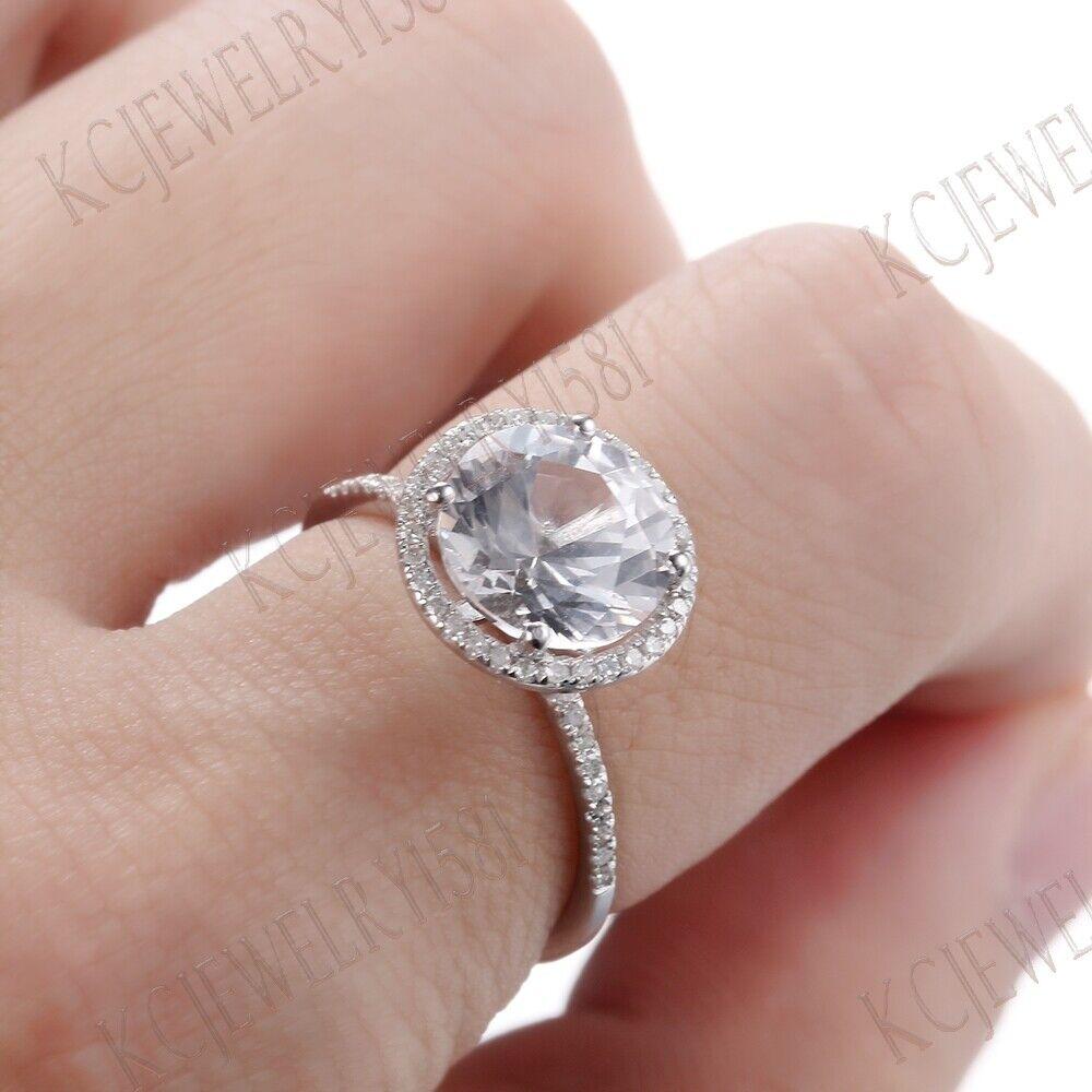Corte Redondo Genuino Diamante Topacio Blanco 18K Oro Blanco Anillo ...