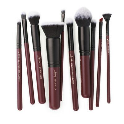 (US Jessup Plum Red Cosmetic Brush Face Lip Eyeliner Concealer Set Makeup 10Pcs)