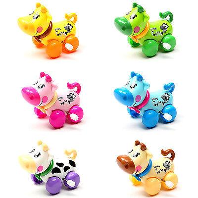 lovely Plastic Wind Up Clockwork Running Animal Cow Baby Kid Toy Random Color