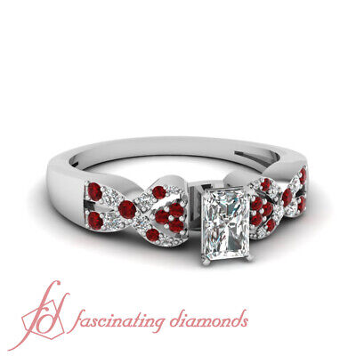 Red Ruby Pave Set Engagement Ring 0.75 Ct Radiant Cut VS1-H Color Diamond GIA