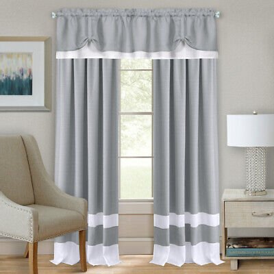 Gray/White Modern Two-Tone Window Curtains Panel Tiers Kitch
