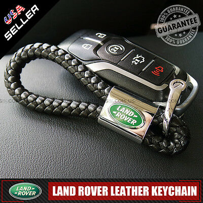 Black Calf Leather Alloy For Land Rover Keychain Gift Decoration Accessories