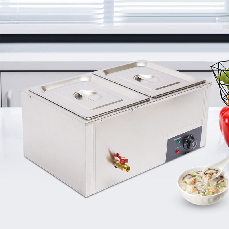 110V Steam Table Steamer Food Warmer Bain Marie Restaurant Equipment 2-Pan 10L
