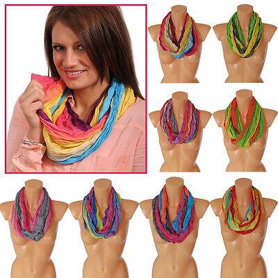 Crinkle Rundschal Knitter Scrunch Optik Sommer Schal Streifen Jamaika Regenbogen