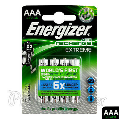 4 x Energizer Rechargeable AAA batteries Accu Recharge Extreme NiMH 800mAh HR03 for sale  Shipping to United States