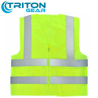 2 Pockets Yellow Solid-mesh High Visibility Safety Vest With Zipper