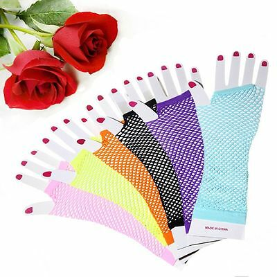 Neon Gothic Punk Dance Fancy Girls Costume Rock Fingerless Long Gloves - Neon Gloves