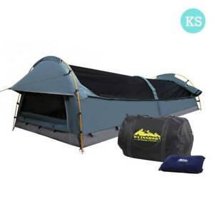 FREE MEL DEL-King Single Camping Canvas Swag Tent Navy w/ Pillow