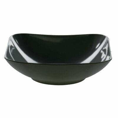 Square Serving Bowl Black Melamine Plastic Dishwasher Safe 7 1/4 Square