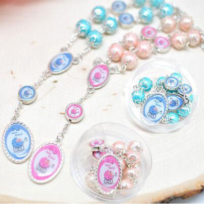12 Baby Shower Rosary Favors Recuerdos Rosarios Decenario Blue Pink Carriage - Baby Shower Carriage