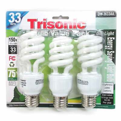 3 Pack Daylight Bulb Light 33 W Energy 150 Watt Output White Compact Fluorescent Daylight Compact Fluorescent Light Bulb