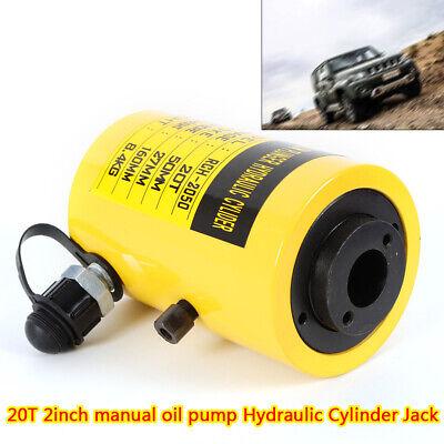 20t Hydraulic Hole Cylinder Jack Plunger Ram 2inch Manual Oil Pump Localfast