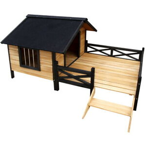 Extra Large Dog Kennel Pet House W/ Patio Wooden Timber Bed Porch Deck Black