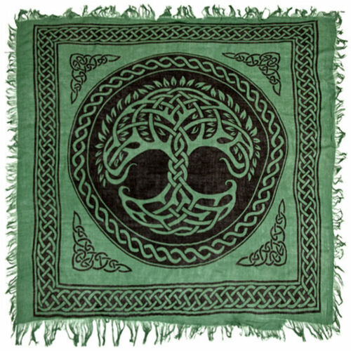 """Celtic Tree of Life Altar Cloth 36"""" NEW Green Wicca Pagan Square Rayon Fringed"""