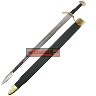 Authentic Battle Ready Viking Long Sword Type XXII Oakshott Brass Leather and Wo