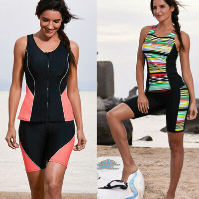 Sleeveless Rash Guard Surf Shirts Swim Top Swimwear + Board Shorts 2PC Swimsui