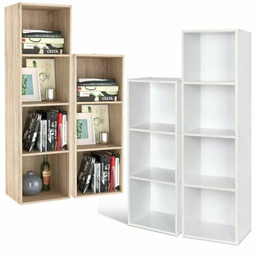 Raumteiler Bücherregal Standregal Aktenregal Raumtrenner CD DVD Regal Weiß/Eiche