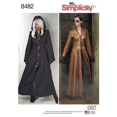 S8482 Simplicity Sewing Pattern Misses' The Matrix Costume Trench Coats