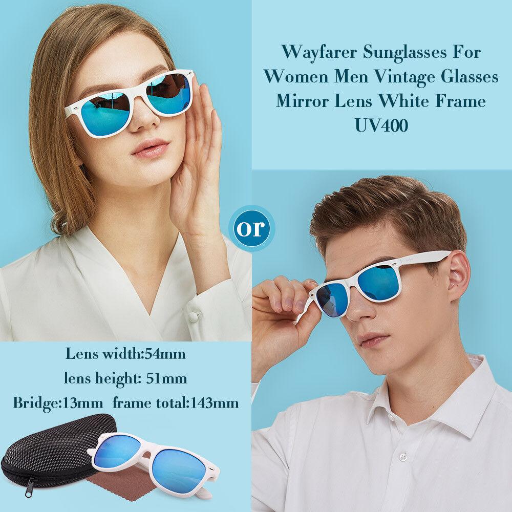 Sunglasses For Women Men Ladies Girls Blue Mirror Lens White