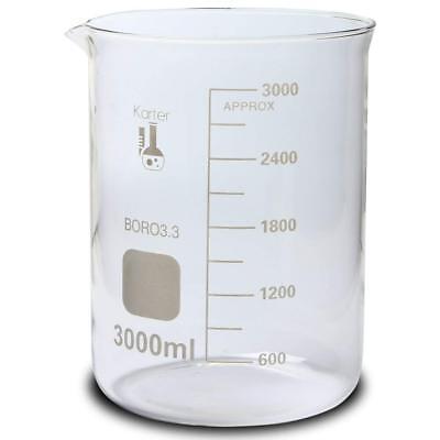 3000ml Beaker Low Form Griffin Boro 3.3 Glass Graduated Karter Scientific