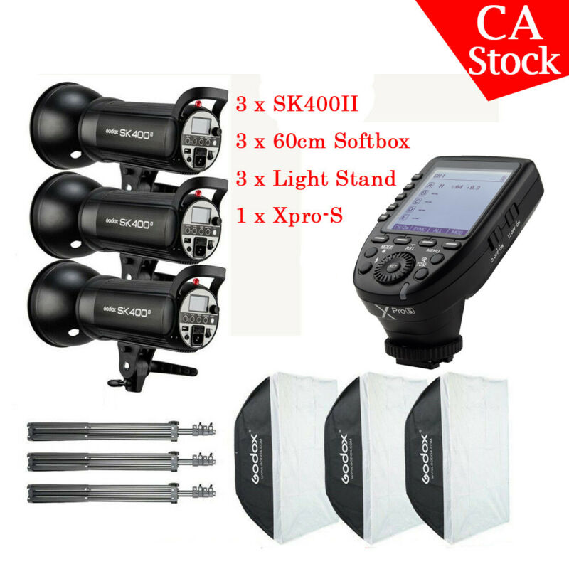 US 1200w 3pcs Godox SK400II HSS Studio Flash Light Stand Softbox Xpro-S F Sony