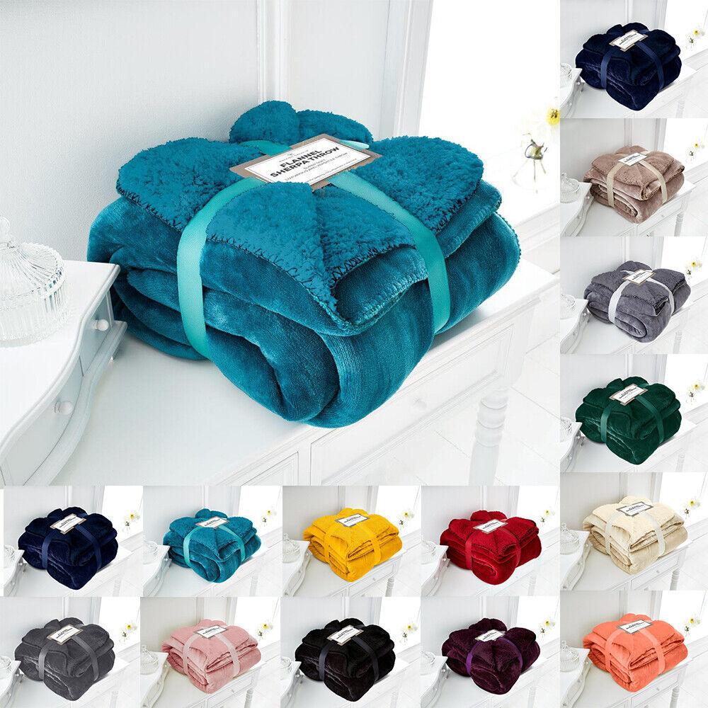 Flannel Sherpa Throws Fleece Blanket Double King Sofa Bed La